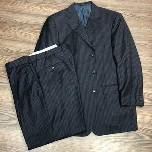Samuelsohn Navy Pinstripe Super 120s Suit 42R